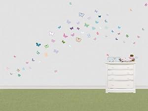 Pegatina decorativa con 58 mariposas de colores (cada mariposa mide entre 4.5 y 9.5 cm)