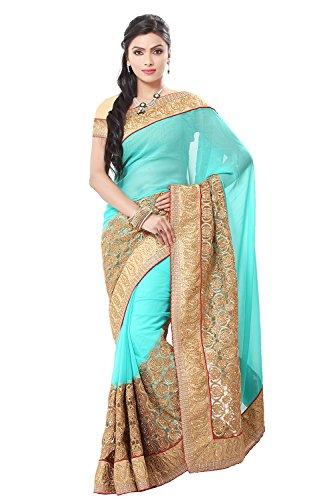 Pinkcity Light Turquoise Saree with Resham Work 61548