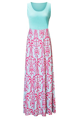 Zattcas Womens Summer Contrast Sleeveless Tank Top Floral Print Maxi Dress (Small, Hot Pink) (Hot Pink Maxi Dress compare prices)
