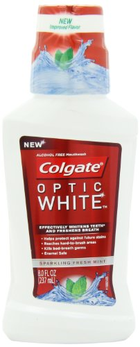 Colgate Optic White Mouthwash Sparkling, Fresh Mint, 8 Fluid Ounce