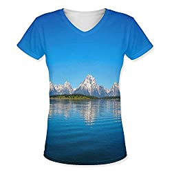 Snoogg Blue Water And White Mountain Womens Casual V-Neck All Over Printed T Shirts Tees