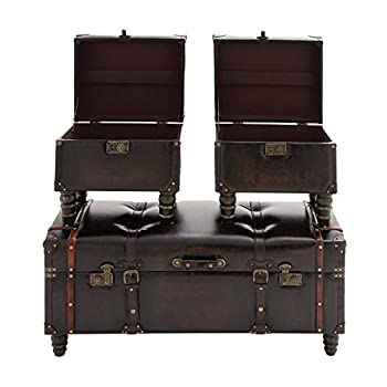Deco 79 Wood Leather Trunk, 40 by 17 by 17-Inch, Set of 3