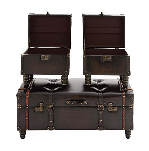 Deco 79 Wood Leather Trunk, 40 by 17 by 17-Inch, Set of 3 1