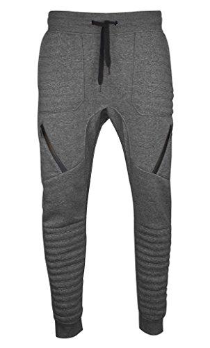 Mens Hip Hop Quilted Dance Fleece Jogger Pants (XL, SAJG5_Charcoal) (Men Jogger Pants compare prices)