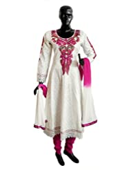 Magenta Parsi Embroidered Neckline on Off-White Self Design Cotton Full Sleeve Anarkali Kurta with Magenta Churidar...