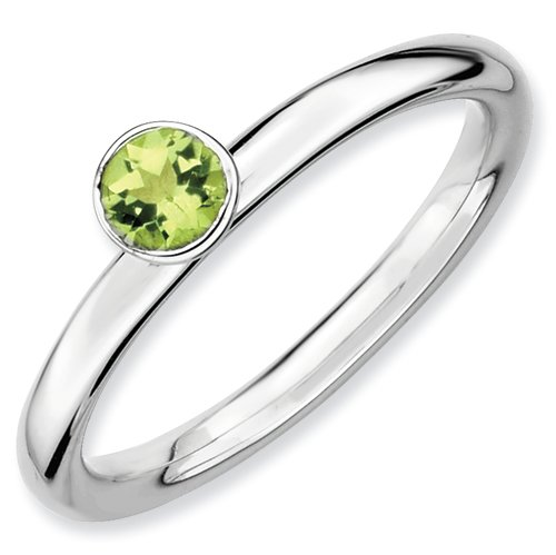 Sterling Silver Stackable Expressions High 4mm Round Peridot Ring (Size 5)