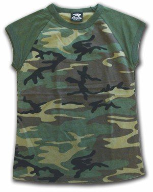 Woodland Camouflage Sleeve Women's T Shirt