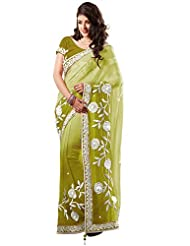 Utsav Fashion Women's Shaded Olive Green Faux Georgette Saree with Blouse