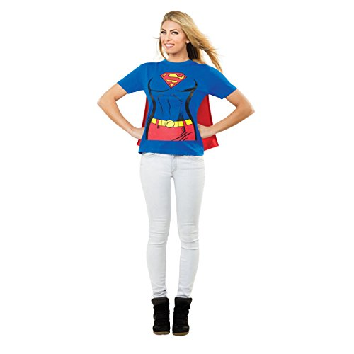 Rubies Costume Co R880474-L Womens Supergirl T-Shirt with Cape Adult Costume LARGE