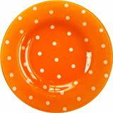 Manual Garden Party Collection with 8-Inch Round Glass Plates, Orange Dot, Set of 4