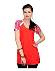 Yepme Women's Polyester Chelsi Printed Orange Kurti