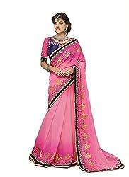 Pehnava Pink Georgette Embroidered Saree
