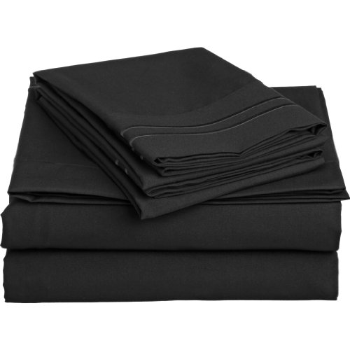 Clara Clark 1500 Collection 3 piece Bed Sheet Set TwinSize, Black