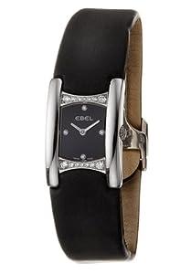 Ebel - Beluga Manchette - 9057A28-563035A06 - Montre Femme - Acier Diamants - Quartz Analogique - Index Diamant - Bracelet Satin Noir