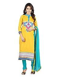 Lookslady Cotton Yellow Women Clothing Semi Stitched Salwar Kameez Suit
