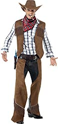 Smiffy's Men's Fringe Cowboy Costume with Waistcoat Chaps Neckerchief and Hat, Brown, Medium