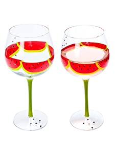 "Set of 4 Pieces 9"" Clear Glass Watermelon Wine Water Glasses Goblets 21oz"