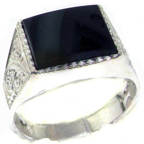 英国製 925 シルバー 天然 ブラック オニキス メンズ スクエア シグネット リング 指輪 サイズ 25 各種サイズあり
