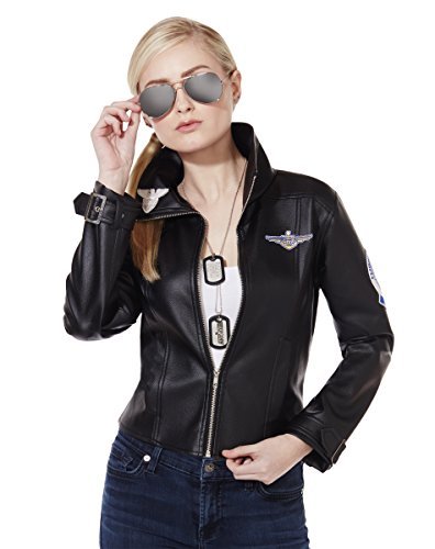 [Spirit Halloween Adult Faux Leather Charlie Bomber Jacket - Top Gun, L 12-14, Black, L 12-14, Black] (Top Gun Womens Bomber Jacket Costume)