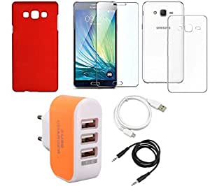 NIROSHA Tempered Glass Screen Guard Cover Case USB Cable Charger car for Samsung Galaxy ON5 - Combo