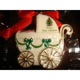 #!Cheap Spode Christmas Tree Baby's First Christmas Ornament Baby Carriage