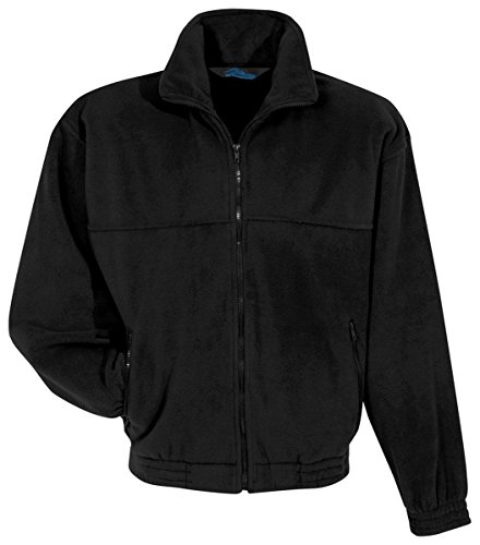 Tri-Mountain Men'S Big And Tall Full Zip Fleece Jacket, Black, Medium front-1043434