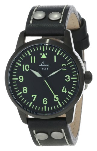 Laco 1925 Navy Men's Automatic Watch with Beige Dial Analogue Display and Brown Leather Strap 861611