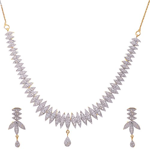 Aditri Aditri White Colour American Diamond Necklace For Women (Multicolor)