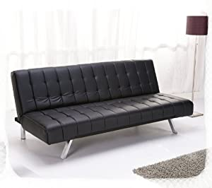 Tokyo Black Faux Leather Sofa Bed Kitchen Home