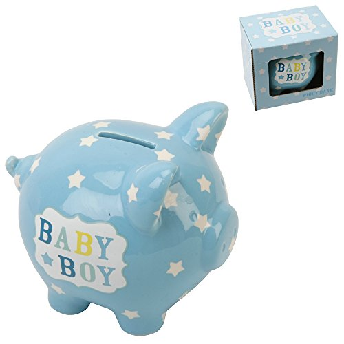 Baby Boy Blue Ceramic Piggy Bank By Haysom Interiors