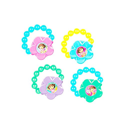 Amscan Colorful Dora's Flower Adventure Gloss Party Bracelet (4 Piece), Blue/Pink/Yellow/Green/Purple, 2 1/4 x 2 1/4""