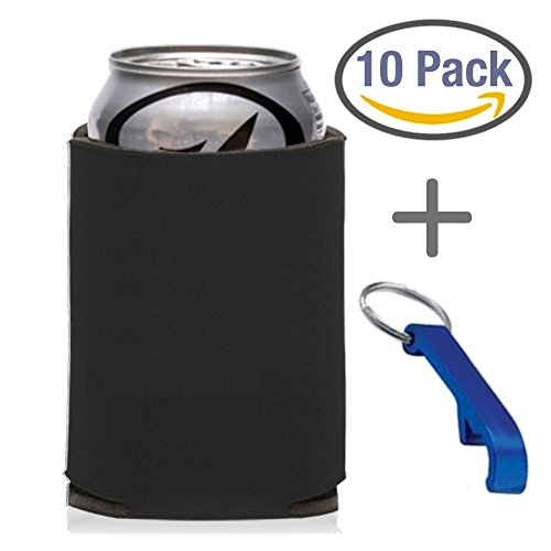 10-Count Black Can Cooler Party Packs With Bottle Opener, 7 Colors To Choose From, Economy Blank 12 oz. or 16oz. Can Coolers Perfect for Weddings, Events, and Custom DIY Projects