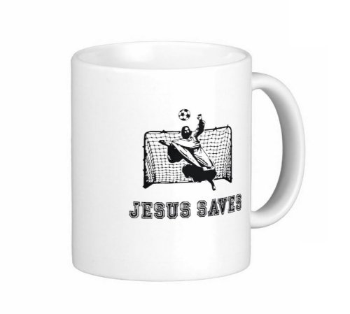 Pair Of 11 Ounce Jesus Saves Soccer Coffee Mugs - Dishwasher And Microwave Safe