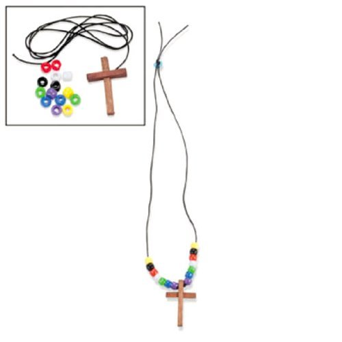 Wood Cross Faith Necklace Craft Kits (1 dz) (Christian Crafts For Kids compare prices)