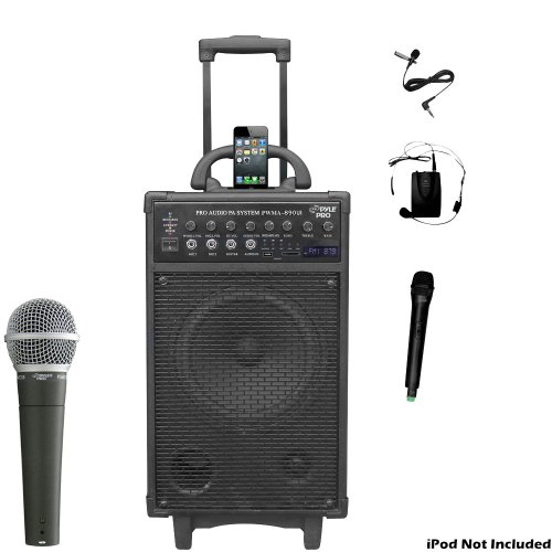 Pyle Mic And Speaker Package - Pwma890Ui 500 Watt Dual Channel Wireless Rechargeable Portable Pa System With Ipod/Iphone Dock, Fm Radio Channels / Usb Flash Drive Stick /Sd And Sdhc Memory Card, Handheld Microphone, And Lavalier Microphone - - Pdmic58 Pro