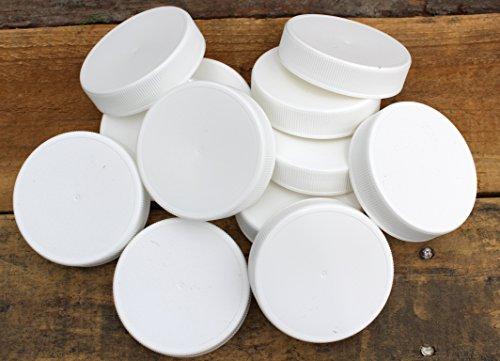 White Plastic Standard Mason Jar Plastic Lids-24 Lids (Plastic Canning Jar Lids compare prices)