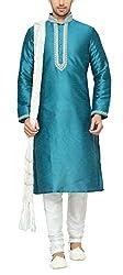 Indian Poshakh Men's Silk Sherwani (1218_32, 32, Blue and White)