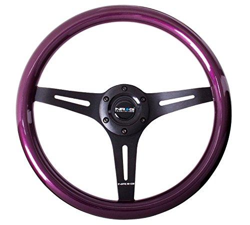 NRG Steering Wheel Purple Classic Wood Grain 3 Spoke Matte Black Center 350mm ST-015BK-PP (Nrg Steering Wheels Purple compare prices)