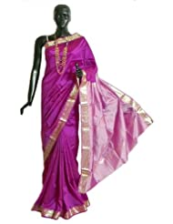 Magenta South Art Silk Saree with All-Over Zari Boota, Zari Border and Light Pink Pallu - Art Silk