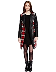 Limited Edition Tartan Checked Biker Coat with Wool