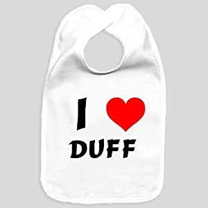 Baby bib with I Love Duff (first name/surname/nickname)