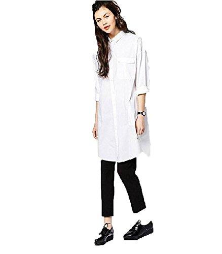 Plusasa Women Fashion Boyfriend Wild Loose Long Sleeve Top T-shirt Dress,White,XL