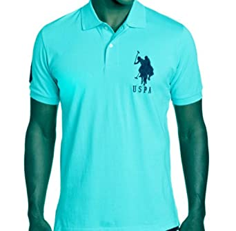 U.S. Polo Assn. Men's Solid Polo With Big Pony, Turquoise, X-Large