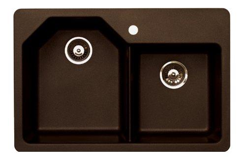 Pegasus AR20MC 33-Inch by 22-Inch Offset Granite Double Bowl Kitchen Sink (Metallic Chocolate)