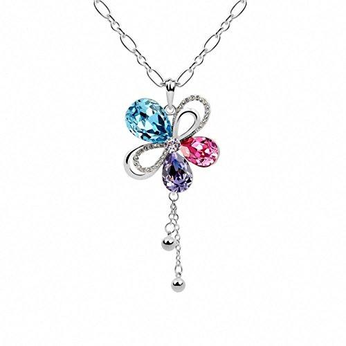TAOTAOHAS donna elementi di swarovski cristallo lungo maglione collane [ fioritura sakura, colori misti ], 18KGP