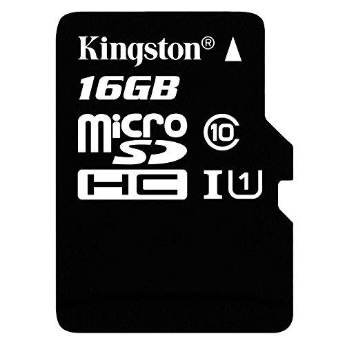 Kingston SDC10G2/16GB Scheda MicroSD da 16 GB, Classe 10, UHS-I, 45 MB/s, con Adattatore SD, Nero