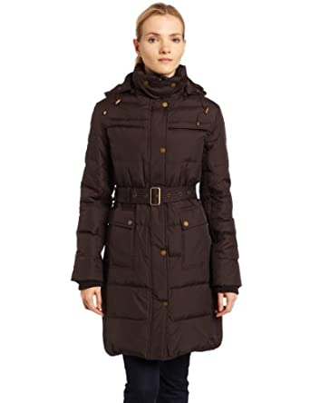 Tommy Hilfiger Womens Belted Down Jacket, Hot Cocoa, Medium