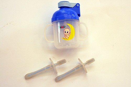 トレーニング用品 歯ぶらし ポップアップ ストロートレーニングカップ シリコン歯ぶらし2本組み ピンク 便利なディリーグッズセット