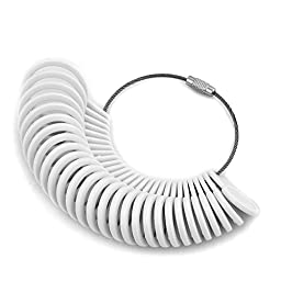 Charmed Craft White Finger Size Measuring Ring-Ring Sizing Sizer Plastic Gauge Circle Model Jewelry