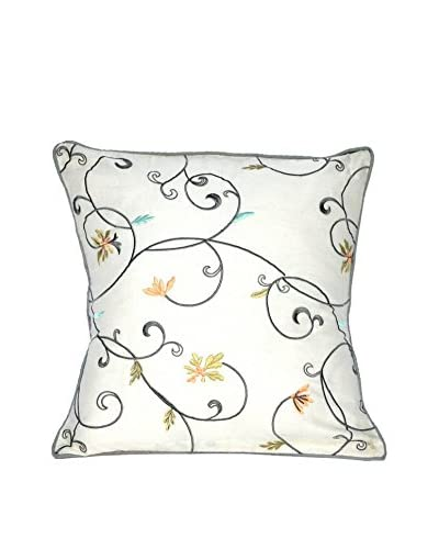 Laura Ashley Berkley Embroidered Throw Pillow, Ivory